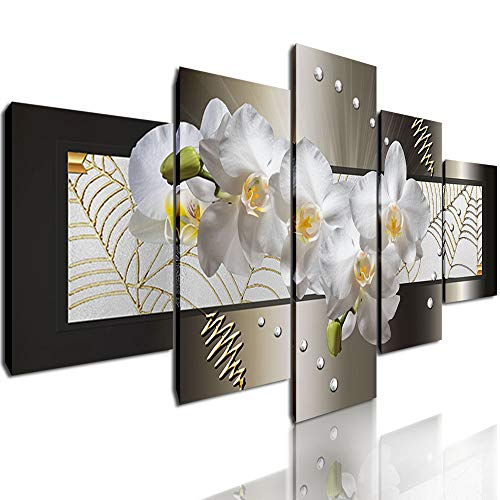 DVQ ART - Abstract Canvas Wall Art Painting Modern Gold Flower Stretched and Framed Picture for Living Room Bedroom Decor 5 Panels