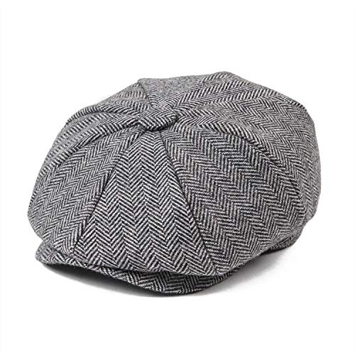 Cherryi Herringbone Wool Tweedsboy Cap Baker Boy Flat Cap Child Hat Girl Small Size Infant,Gray,56cm
