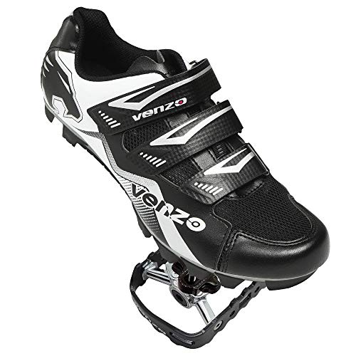 Venzo Mountain Bike Bicycle Cycling Compatible with Shimano SPD Men or Women Shoes + Multi-Use Pedals - with MTB Type Clipless Cleats 46 (Best Bicycle Touring Shoes)