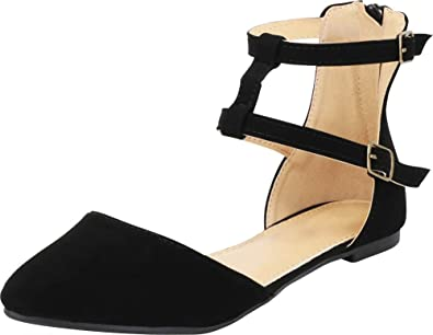 Anna Shoes Womens Elastic Ankle Wrap Strappy DOrsay Pointy Toe Ballet Flat