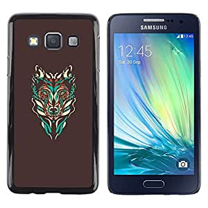 Be Good Phone Accessory // Dura Cáscara cubierta Protectora Caso Carcasa Funda de Protección para Samsung Galaxy A3 SM-A300 // Brown Wolf Abstract Art Teal Native