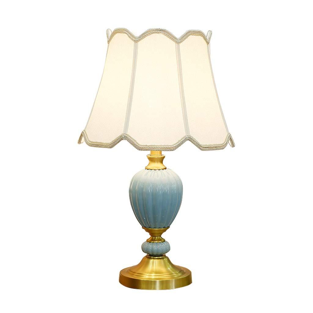 Hty td Keramik Nachttischlampe Als Lesetischlampe Beleuchtung E27 Eye Caring Dekoration Schreibtischlampe Traditionellen Antik Messing Und Stoff Lampenschirme