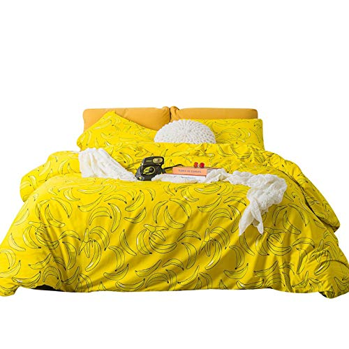 SUSYBAO 3 Piece Duvet Cover Set 100% Natural Cotton King Size Yellow Banana Print Bedding Set with Zipper Ties 1 Fresh Fruit Pattern Duvet Cover 2 Pillowcases Luxury Quality Soft ()