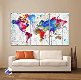 Original by BoxColors Large 30''x 60'' 3 Panels 30x20 Ea Art Canvas Print Map world watercolor Abstract Colorful Wall decor Home interior Decoration (framed 1.5'' depth)