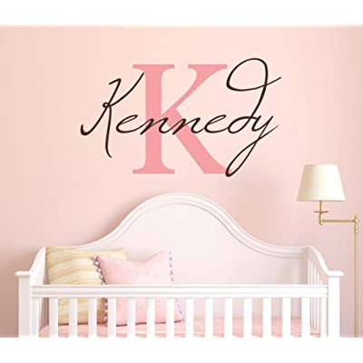 "Girls Custom Name and Initial Wall Decal Sticker, 20"" W by 12"" H Girls Name Wall Decals, Wall Decor, Personalized, Girls Decor, Girls Nursery, Girls Bedroom, Plus Free White Hello Door Decal: Baby"