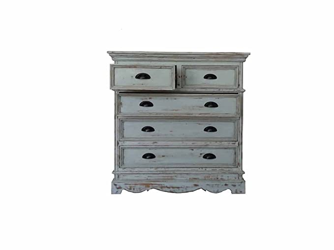Aprodz Mango Wood Storage Cabinet Callao Chest of 5 Drawers Furniture for Living Room | Rustic Grey