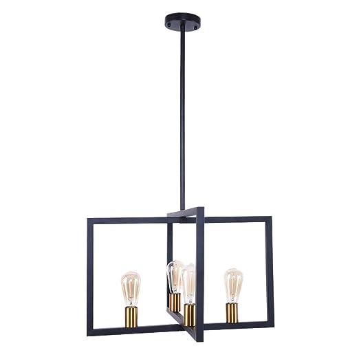 OYIPRO Modern Pendant Light, 4 Lights Industrial Kitchen Island Light  Fixture Hanging Ceiling Lamp Black Frame Brass Lamp Socket E26