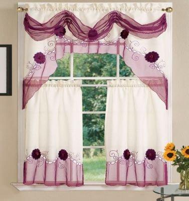 Dainty Home Sun Flower Kitchen 3-Piece Curtain Set, Rust
