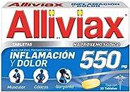 ALLIVIAX, alivia varios tipos de dolor hasta por 12 horas, con Naproxeno Sódico 550mg, caja con 10 tabletas