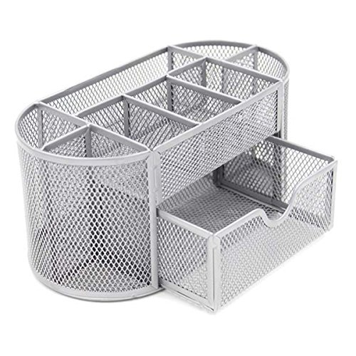 (VANRA Metal Mesh Desk Supply Caddy Desktop Office Supplies Organizer Supply Holder 8 Compartments with Drawer)