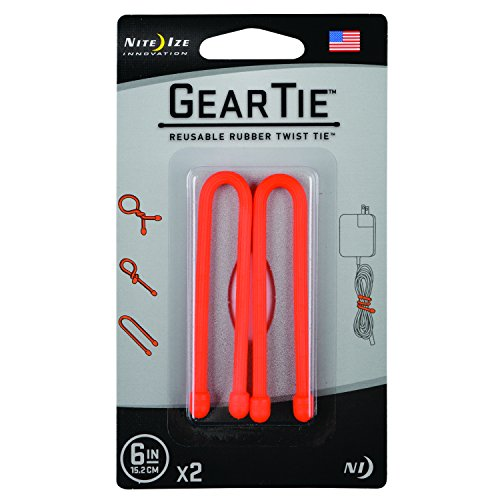 Nite Ize Original Gear Tie, Reusable Rubber Twist Tie, Made in the USA, 6-Inch, Bright Orange, 2 Pack