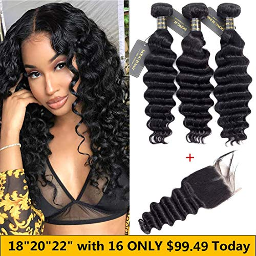 Peruvian Loose Deep Wave Bundles with Closure, (18 20 22 with 16 Closure)Long Loose Deep Curly Hair 9A Peruvian Virgin Hair 3 Bundles with 4x4 Top French Lace Closure with Baby Hair ()