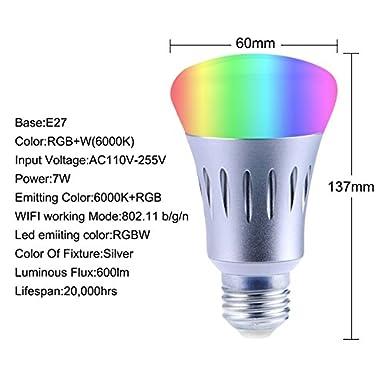 Upstone app-enabled WiFi Smart LED luz bombillas RGB multicolor, no requieren Hub, trabajo con Echo & Alexa, 60 W equivalente: Amazon.es: Iluminación