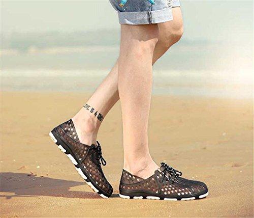 Bininbox Mens Flat Sandales Lacets Respirant Chaussures Fermé-orteil Soft Hole Noir