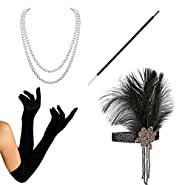 HAMIST 1920s accessories Set Flapper Costume Women Headband Gloves Cigarette Holder Necklace