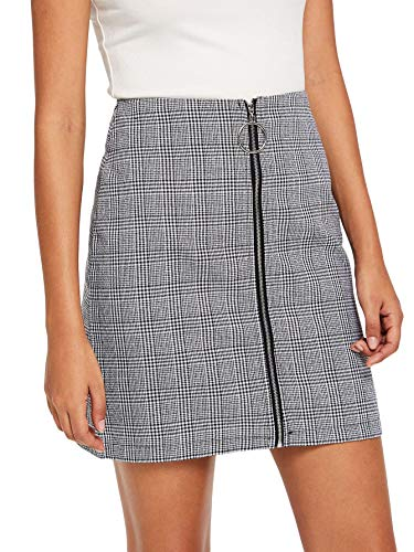 (WDIRARA Women's Casual Plaid Print Mid Waist Zip Up Front Above Knee Short Skirt Grey M)