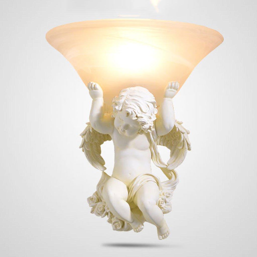 CHENGYI Lampada da Parete, Soggiorno europeo sfondo muro angelo scultura lampada da parete camera da letto comodino luce specchio personalità creativa semplice retro resina scultura scalinata navata decorazione luce di notte ( Colore : B , Design :