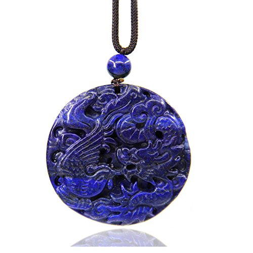 Natural Lapis Lazuli Gemstone Dragon and Phoenix Amulet Charm Pendant Necklace 20