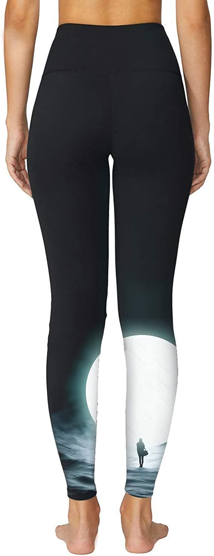 O2YO Womens Capris Unique White-Moon Space Print Pants Compression Leggings