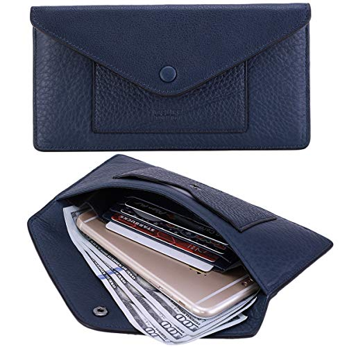 - Women's Wallet Leather RFID BLOCKING Ultra Thin Envelope Purse Travel Clutch with ID Card Holder and Phone Pocket (Natural a Dark Blue)