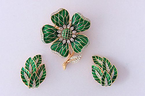 Western European and American jewelry jewelry industry glorious antique emerald green French Renaissance enamel diamond flower brooch popularity Earring Sets