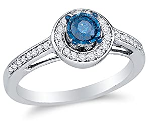 Size 6 - 10K White Gold Blue & White Round Diamond Halo Circle Engagement Ring - Prong Set Solitaire Center Setting Shape with Channel Set Side Stones (2/5 cttw.)