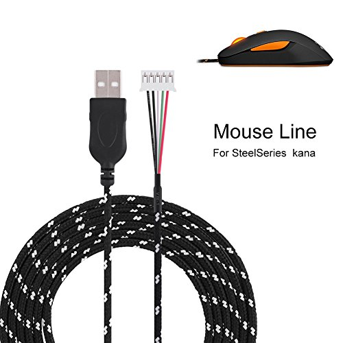 Fosa 2.2 Meters USB Cable Wire Line Replacement for Steelseries kana Mouse(Black)