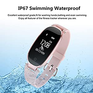 Fitness Tracker, WOWGO Women Sport Tracker Smart Watch Band Bracelet, Heart Rate Monitor Smart Bracelet,Wristband Watch with Health Sleep Activity Tracker Pedometer for iOS Android Phone (Rose Gold)