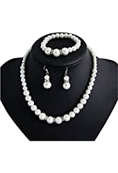 White Pearl Earring Bracelet and Necklace Sets Wedding Jewelry Set