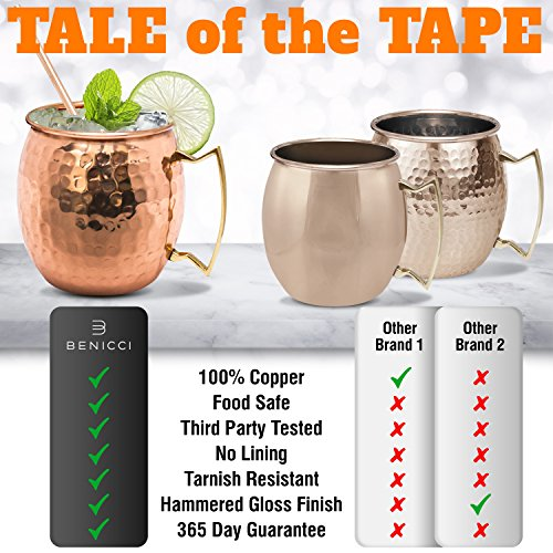 Moscow Mule Copper Mugs - Set of 4-100% HANDCRAFTED - Food Safe Pure Solid Copper Mugs - 16 oz Gift Set with BONUS: Highest Quality Cocktail Copper Straws and Jigger! by Benicci (Image #4)