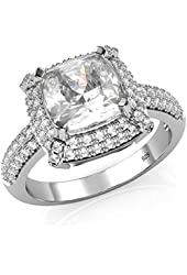 Sterling Silver 925 Cubic Zirconia CZ 3 Ct. Cushion Cut Halo Engagement Ring