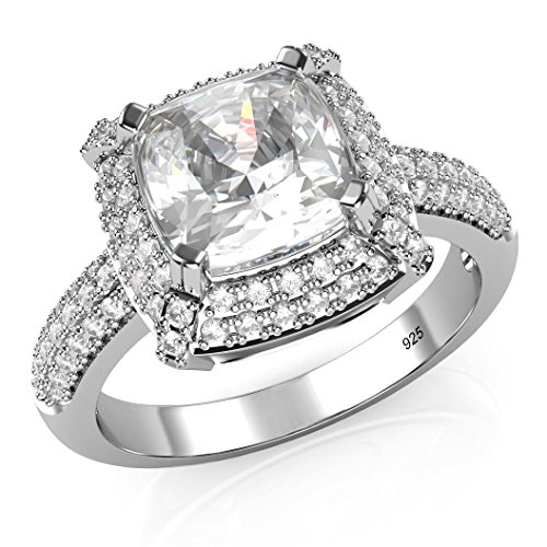 (Sz 6 Sterling Silver 925 Cubic Zirconia CZ 3 Ct. Cushion Cut Halo Engagement Ring)