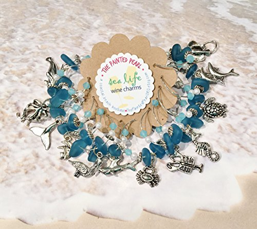 Sea Life Gifts, Beach Wine Charms, Set of 12
