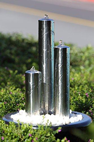 Köhko 166 cm Springbrunnen 22007 aus Edelstahl mit LED-Beleuchtung Säulenbrunnen