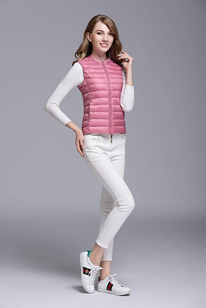 Byqny Women Casual Zipped Resistant Bodywarmer,Gilet Sleeveless Lightweight Padded Outdoors Jacket Body Warmer Breathable Puffer Vest 2# Pink