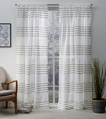 Exclusive Home Curtains Monet Pleated Sheer Linen Cabana Stripe Window Curtain Panel Pair with Rod Pocket, 54x108, Taupe, 2 Piece