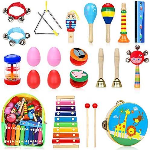 Jojoin 24 Pcs Juguetes Instrumentos Musicales, 14 Tipos de Juguetes de Instrumentos, Juguete Música Instrumento, Educativo Bebés, Juguete y Regalos ...