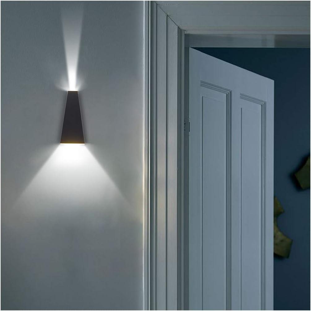 negro Klighten L/ámpara de pared LED 6W aplique de pared interior decorativo y Ourdoor para dormitorio 4000K