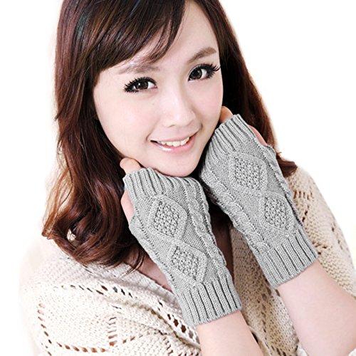 KUKOME Women Winter Fingerless Gloves Warm Knitted Hand Wrist Ladies New Warmer Mitten