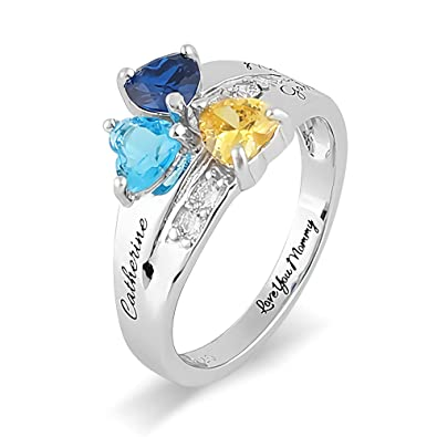 c82f83b9b3 Amazon.com: Sterling Silver Hearts Cluster Mothers Rings with 3 Birthstones  & Names & 1 Inside Message for Mom Customize Family Rings Anniversary Rings  Name ...