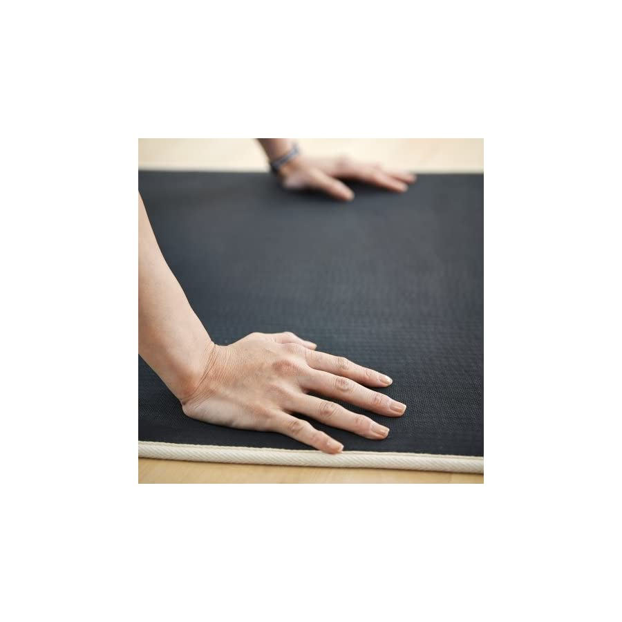 MERRITHEW Natural Rubber and Jute Mat, (Black) 0.2 inch / 5 mm