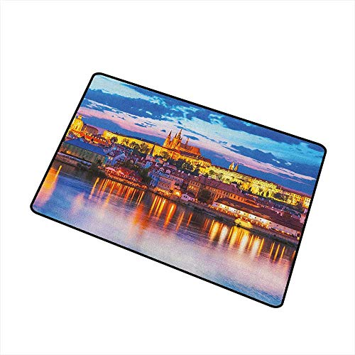 Wang Hai Chuan Travel Inlet Outdoor Door mat Evening in The Prague Czech Republic St.Vitus Cathedral Historical Architecture Catch dust Snow and mud W15.7 x L23.6 Inch Multicolor