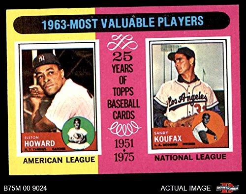 - 1975 Topps Mini # 201 1963 MVPs Sandy Koufax/Elston Howard Yankees/Dodgers (Baseball Card) Dean's Cards 7 - NM Yankees/Dodgers