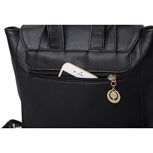 WINK KANGAROO Fashion Shoulder Bag Rucksack PU Leather Women Girls Ladies Backpack Travel bag (Black) by WINK KANGAROO (Image #4)