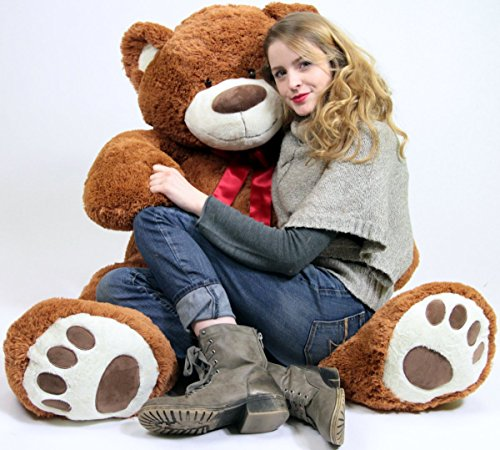 51AHPDg9CEL - 5 Foot Very Big Smiling Teddy Bear Five Feet Tall Cookie Dough Brown Color with Bigfoot Paws Giant Stuffed Animal Bear