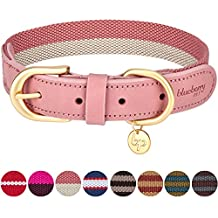 """Blueberry Pet 8 Colors Polyester and Soft Genuine Leather Webbing Dog Collar in Pink and Grey, Medium, Neck 15""""-18"""", Adjustable Collars for Dogs"""