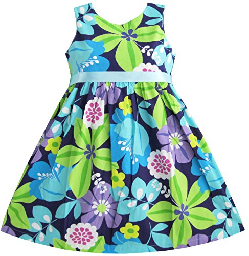 sunny-fashion-girls-dress-blue-belt-flower-print-party-sundress-size-6