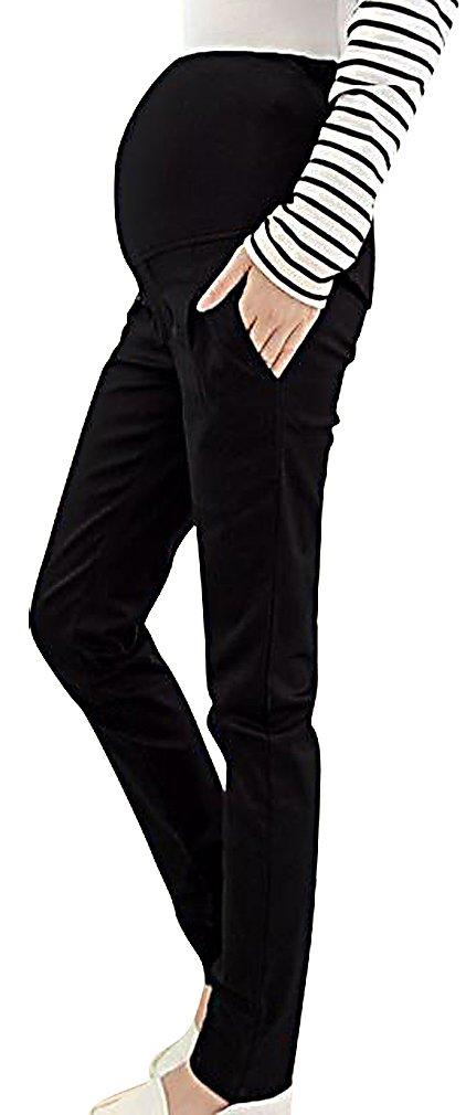 MTRNTY Women's Maternity High Elastic Waist Comfortable Regular Fit Plain Pants, Black Large