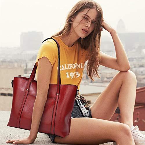 Capacity Shoulder Doris Red Wine Handbag Large Tote Nicole Donna Brown Y1wIP