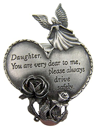 Fine Pewter Guardian Angel Daughter Heart Auto Visor Clip, 2 3/4 Inch (Auto Visor Clip)